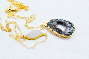 Quartz Gold Dipped Layered Necklaces